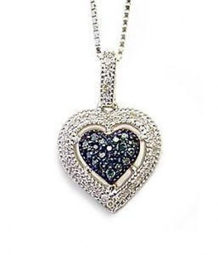 bluee & White Diamond Heart Pendant 10K White gold Heart Cluster .21ct 7 8  Drop