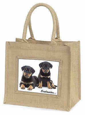 Rottweiler Welpe Hunde Soulmates Große Natürliche Jute-einkaufstasche Ch,