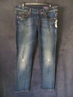Yaso Nordstrom Dark Distressed Semi Stretch Denim Rocker Jeans Pants 9/10 30
