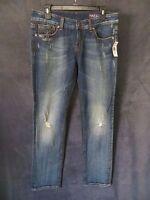 Yaso Nordstrom Dark Distressed Semi Stretch Denim Rocker Jeans Pants 9/10 30