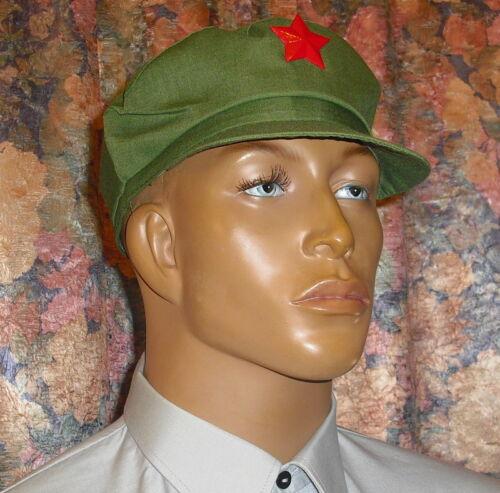 Mao Mütze GRÜN mit ROTEM STERN China Original Viele Größen am Lager !