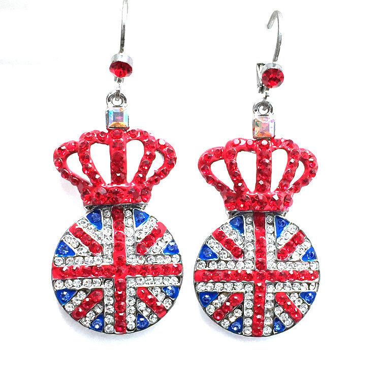 Butler Wilson Kristall England Flagge Krone scheibenförmige Ohrringe Harry Royal