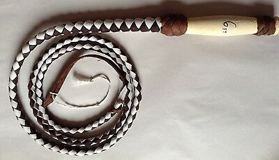 Bullwhips 6 Ft. 4 Plait Leather Whip Indiana Jones Costume Brown and White #W64