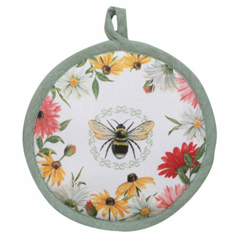 """Set of 2 Kay Dee Designs FLORAL BUZZ 8/"""" Round Cotton Pot Holders"""