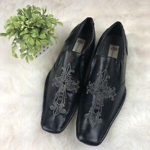 Winston-Men-039-s-Sz-9-Black-Dress-Shoes-Slip-On-Square-Toe-Embroidered-Cross-Loafer