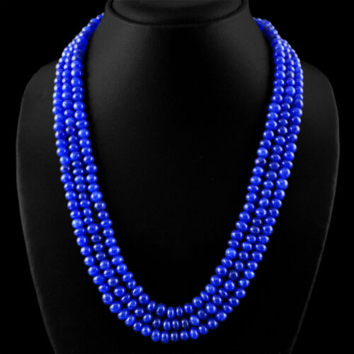 560.00 cts Earth mined ligne 3 bleu saphir Forme Ronde Perles Collier