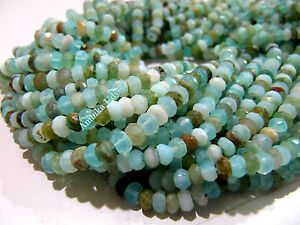 6mm Strand 13.5inch Genuine Peruvian Blue Opal Rondelle Faceted Beads 5mm