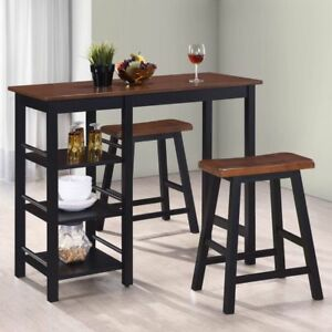 Image Is Loading 3pc Bar Set Kitchen Table Stools Chair Shelves