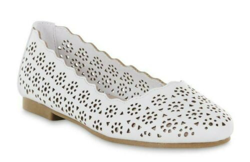 NWT White or Glittered Gray Girls/' Jala 2 Cut Out Flats by Piper