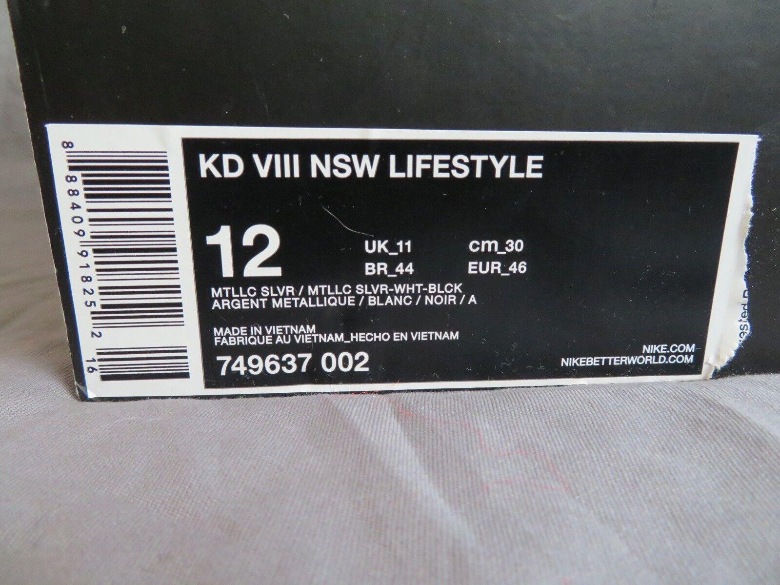 Da Uomo Kd VIII NSW NSW NSW Lifestyle 749637 002 Metallizzato argentoo Bianco Nero d5e170