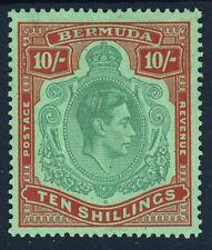 BERMUDA King George VI 1939 10/- Blue-Green & Deep Red on Green P14 SG 119a MINT