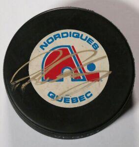 Peter-Forsberg-Quebec-Nordiques-Signed-Autographed-Puck-NHL-Hockey-Vintage-90s