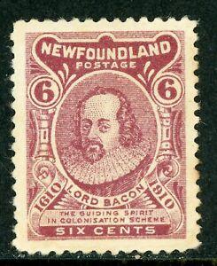 Canada-1910-Newfoundland-6-Claret-034-Z-034-Reversed-Scott-92-Mint-Z908