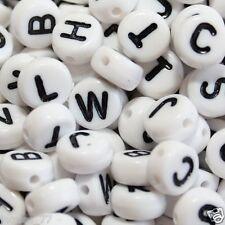 ca 250 weiße Buchstabenperlen 7 x 4 mm Buchstaben Perlen Linsen
