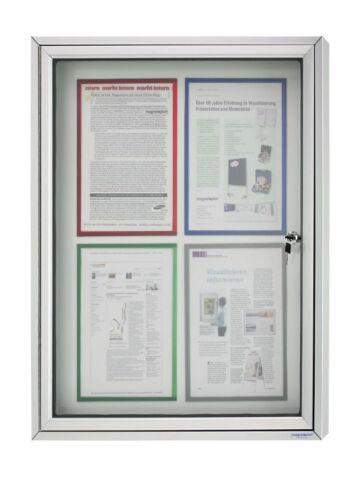 Schaukasten CC magnetische Rückwand 4 x DIN A4 Alu Infokasten für Außen