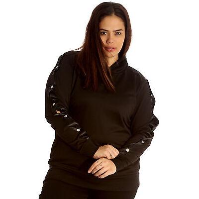 New Womens Plus Size Hoodie Ladies Sweatshirt Top Popper Button Sleeve Warm Hood