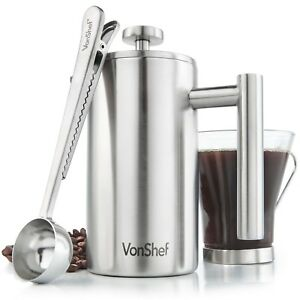 VonShef-3-Cup-French-Press-Double-Walled-Stainless-Steel-Cafetiere-Coffee-Maker