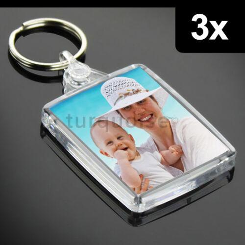 3x Premium Clear Acrylic Blank Keyrings Key Fobs 45 x 35 mmPassport Photo