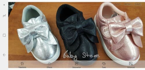 GIRLS GORGEOUS  BIG BOW PUMPS PLIMSOLLS SNEAKERS TRAINERS SHOES  3  INFRANT T0 1
