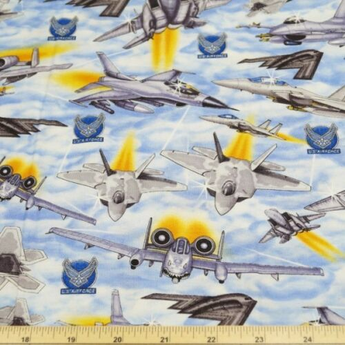 Military U.S Airforce Jet Fighters 100/% Cotton Fabric