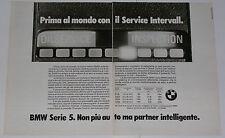 Advert Pubblicità 1982 BMW SERVICE INTERVALL SERIE 5 E28