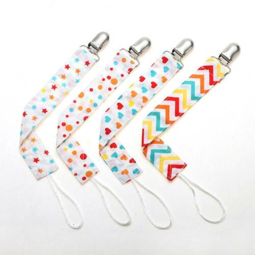 4pcs//set Baby Infant Pacifier Clips Chain Cotton Dummy Soother Strap Nipple