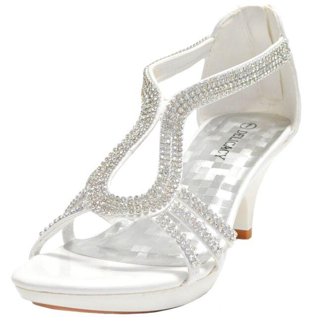 New women's shoes evening rhinestones back zipper med heel wedding prom White