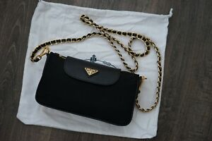 4215b280b56c ... inexpensive image is loading authentic prada tessuto saffiano nylon  leather chain crossbody 76727 70627