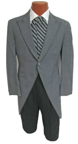 Men's Vintage Light Grey Morning Coat Cutaway Long