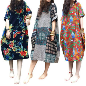 AU-8-24-Women-Vintage-Boho-Printed-Long-Top-Blouse-Kaftan-Plus-Size-Floral-Dress