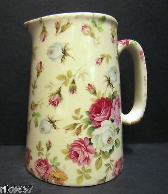 Heron Cross Pottery ROSE BASKET (cream B/G) Chintz English 1/2 Pint Milk Jug