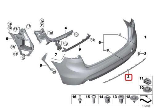 Nuevo original BMW serie 2 F45 Active Tourer Parachoques Trasero Recortar de lujo línea cromo