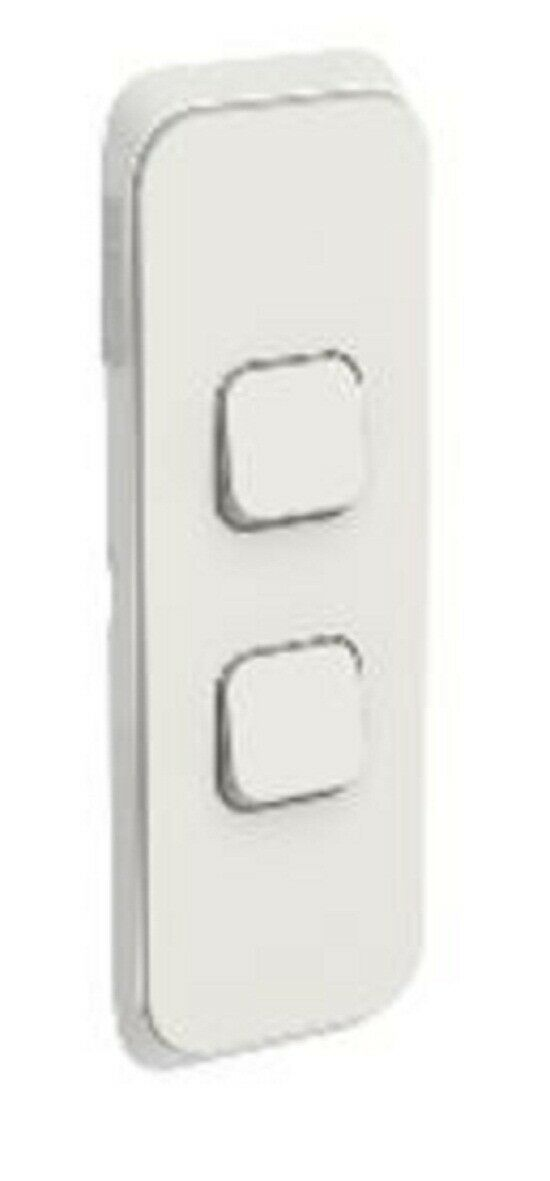 2x Clipsal ICONIC SWITCH COVER PLATES 2-Gang greenical Mount, Clip-On WARM GREY