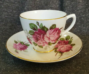 Bone China Teacup & Saucer Set, Floral Roses, Gold Trim