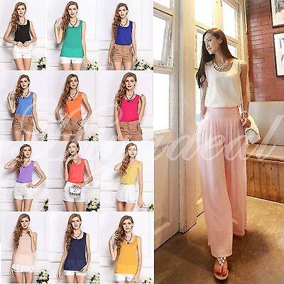 16 Color Women's Casual Loose Sleeveless Chiffon Vest Tank T Shirt Blouse Tops