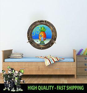 Bob-l-039-eponge-Ananas-Ships-hublot-decoration-murale-vinyle-decor-imprime