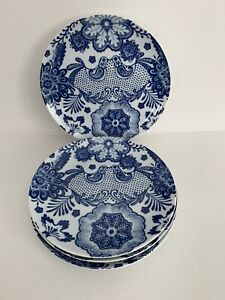 Set-of-4-Pier-1-Imports-BLUE-HARE-SALAD-Plates-Floral-Love-Birds-Blue-White