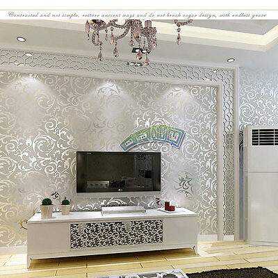 Wallpaper 10M Roll Damask Victorian Textured Embossed Feature Bedroom TV Decor
