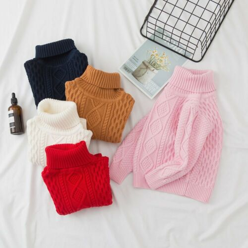 Children Baby Girls Boys Knitted Sweater Sewing Thick Warm Tops Outfit Colorful