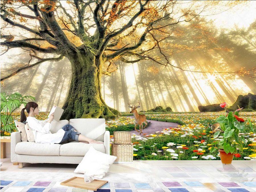 3D 3D 3D Forest tree sun 1119 Paper Wall Print Decal Wall Wall Murals AJ WALLPAPER GB 3da581