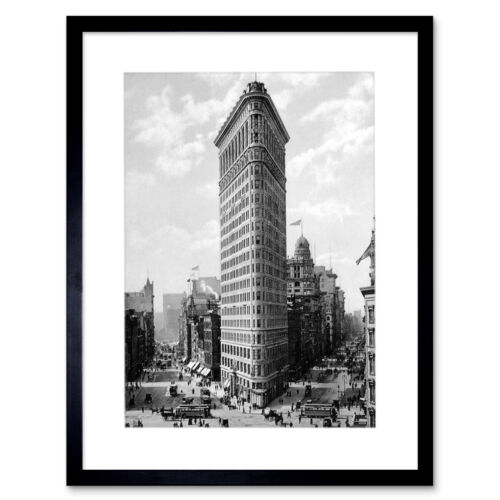 """Flat Iron Building Ny 1903 Old Bw Photo Framed Art Print Picture Mount 12x16/"""""""