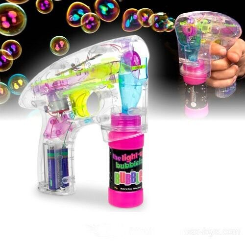 Clear LED Water Bubble Gun Shooter Sound Garden Fun Party Kids Toy Solution