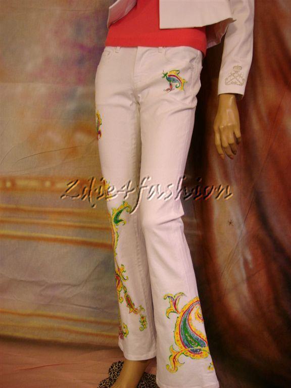 1298 New RALPH LAUREN White Painted Paisley Art Low Rise Pants Jeans 29