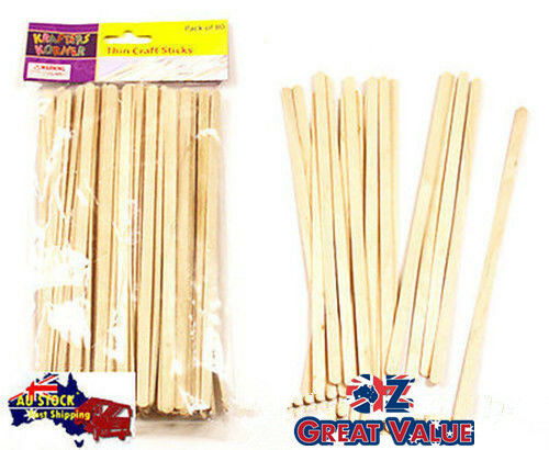 Pack of 80 pcs Thin Craft Stick Natural 18cm x 0.6cm x 0.15cm TOM-A075