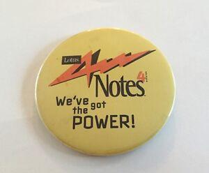 Lotus Notes 4 We've Got The Power Button Pin 1996 IBM Computer Software Pinback