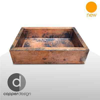 "Hammered Copper Apron Farmhouse Kitchen Sink 22""x16""/ Natural patina color"