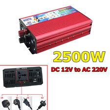 2500W Power Inverter Car DC 12V to AC 220V Sine Wave Converter Travel Adapter