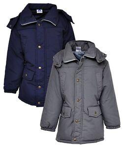 New Girls Kids Padded Parka Jacket School Coat Navy Grey Age 6 7 8