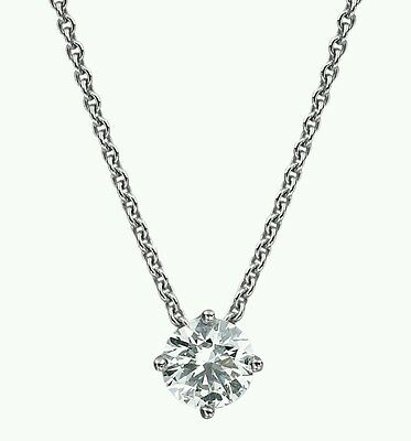 1.5Carat Solitaire Pendant Necklace And Chain Solid 14k White Gold Round Cut