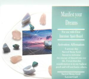 MANIFEST-YOUR-DREAMS-Grid-Card-4x6-034-Heavy-Cardstock-For-Use-with-Healing-Crystal